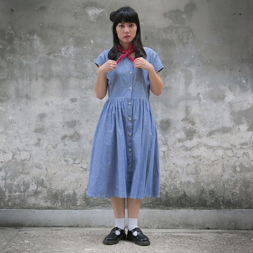 Vintage Japanese department short-sleeved denim dress