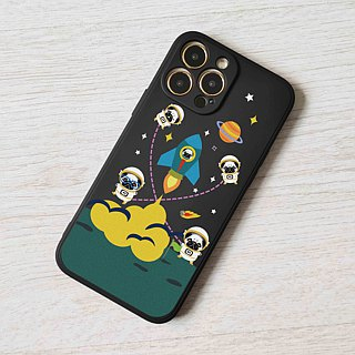 Pug in space Black hard Phone Case Cover for iphone X 8 + Plus Galaxy S8 Note