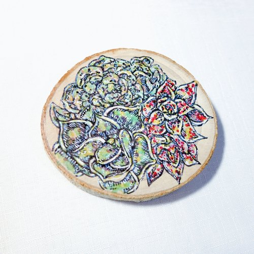 Limited - healing hand-painted wooden Videos (coaster) - Succulents small party