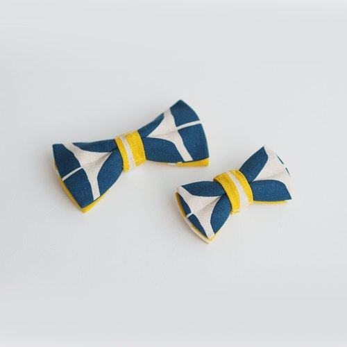 Bold Blue Yellow Print Bowtie | For Dogs & Cats