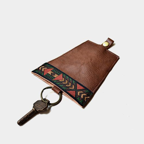 [Maya relics of the Maya civilization] Italian vegetable tanned leather leather case brown leather guest carved lettering when the gift father section father section national wind folk wind geometric totem