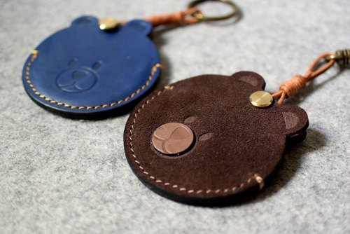 "YOURS handmade leather ""A bear head"" sensor wafer ‧gogoro key holster leather key ring version"