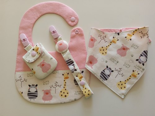 Pink cloth bibs zoo births gift scarf + + + pacifier clip safe Fukubukuro