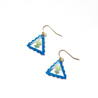 Triangle stamp tulip clip/needle earrings