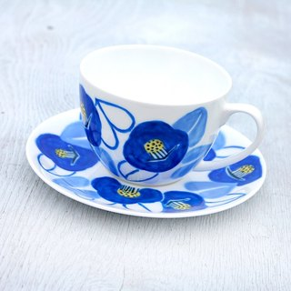 Blue Camellia Cup and Saucer