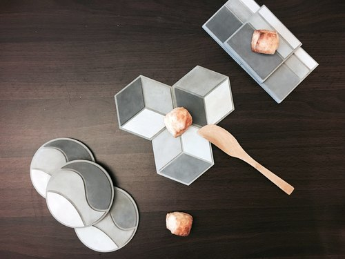 Be:tween geometric cement coaster set | geometry |