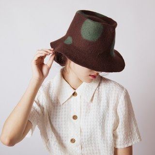Ke people original handmade autumn and winter large eaves wool felt hat women British pure wool wool felt elegant wild carpet