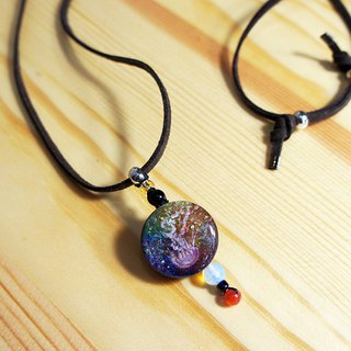 Hand painted jellyfish dream faux suede long necklace with moonstone and agate