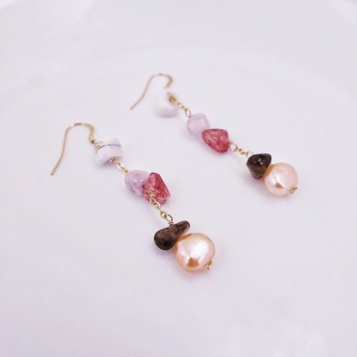 Natural shaped pink freshwater pearl natural stone string drape 14KGF package gold ear hook (can change folder)