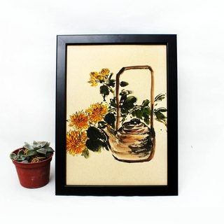Hand painted tucker teapot orange flower Chinese painting ornaments (with frame)