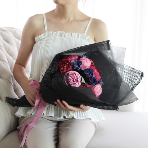 "CB306 : Artificial Mulberry Paper Flower Congratulations Bouquet Red&Pink Peony Size 10.5""x18"""