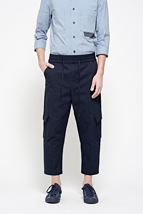Drawstring lane military pocket pants (blue)