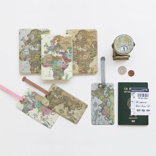 Goody Bag -indimap World map passport tag 2 entry (long), IDG094272S