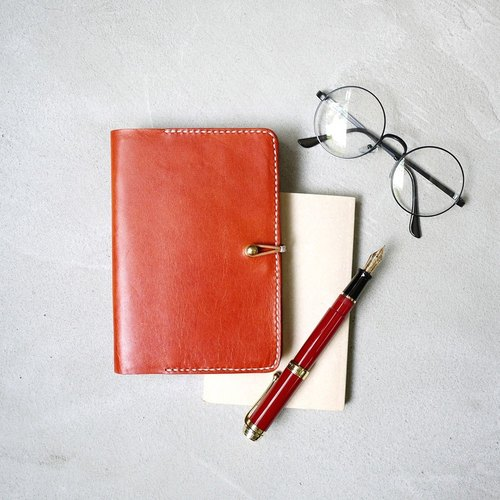 Portable leather tanned leather notebook / book cover (about A6 size, 50K)