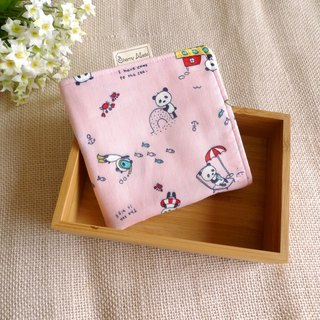 Cotton gauze handkerchief - beach cats bear (powder)