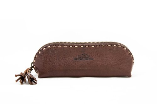 LEATHER PENCIL AND GLASSES CASE - DARK BROWN.