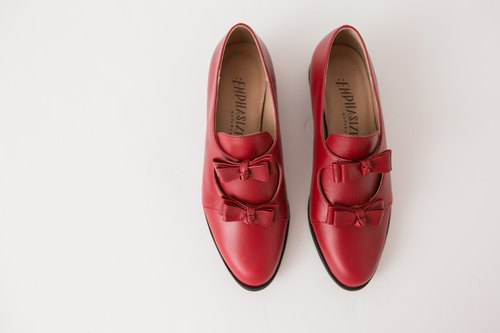 :EMPHASIZE Double Bow Full Leather Shoes - Dark Red