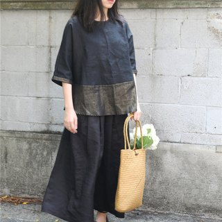 [Throwing cloth for Yimu Mu breeze to] Summer pure ramie skirt pants wide leg pants black