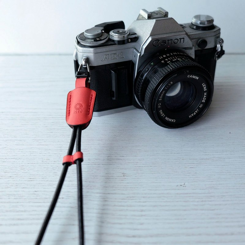 isni [camera wrist strap / leather rope ] red color /simple & safety design