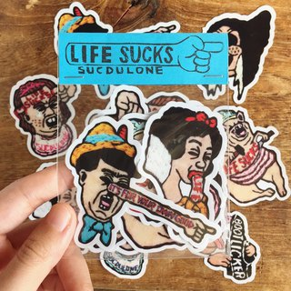 LIFE SUCKS / Handmade Embroidery Stickers