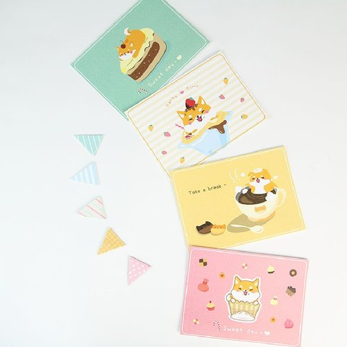 i mail postcards - Shiba & dessert romance series (choice of four) - Dog Shiba blessing tea cake