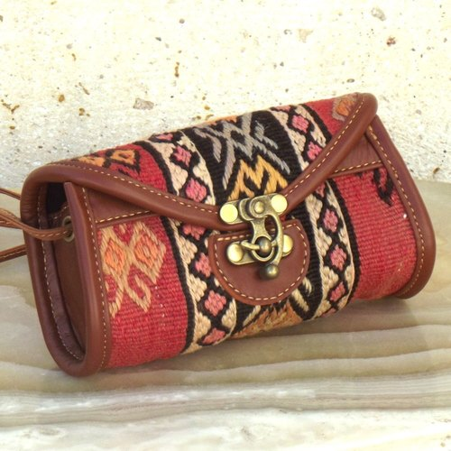 Kilim&Leather Shoulder/Clutch Bag - Small AS129