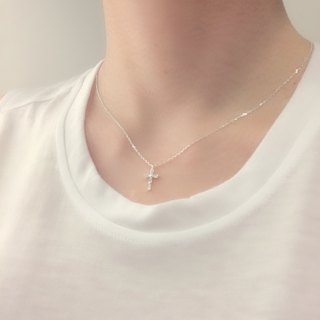 Bloom Cross Clavicle Chain S925 Sterling Silver Necklace Anti-allergy
