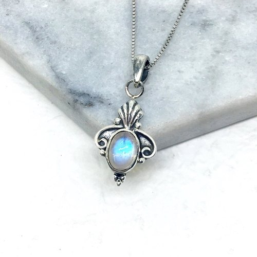 Moonlight stone 925 sterling silver court style necklace Nepal handmade mosaic production