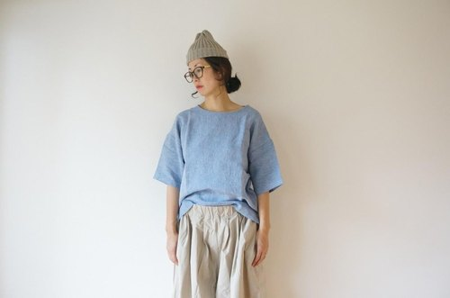 JAPAN Linen blouse LADY'S BLUE