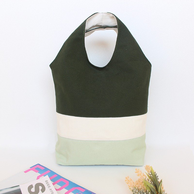 Splicing color block magnetic buckle handbag - green / tote bag