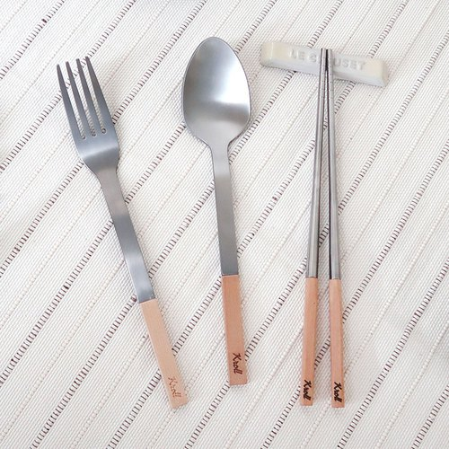 [KROLL] pure titanium household group - maple (fork + spoon + elegant version of chopsticks)