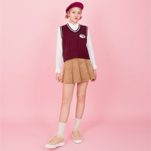Dear My Universe twist straight striped knit V-neck vest - burgundy