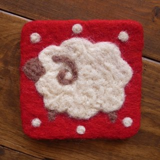 Cup coasters, Felt coasters Animal Sheep Red