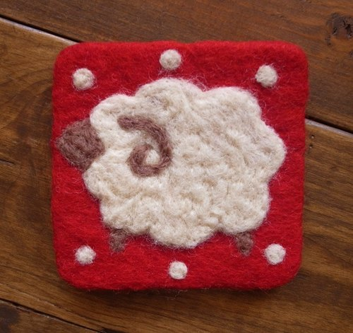 【Grooving the beats】Cup coasters, Felt coasters(Animal_Sheep_Red)