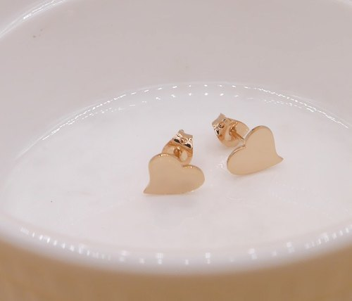 Handmade HEART EARRING - PINK GOLD PLATED, Tiny Jewelry, Valentine Gift