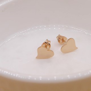 Handmade HEART EARRING - PINK GOLD PLATED