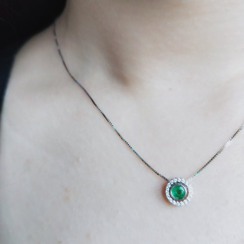 Emerald gift. Twilight - Natural Colombian Emerald Chainbone Chain