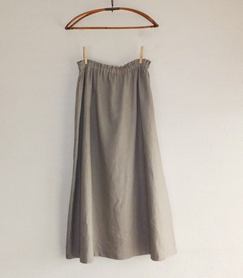 Linen long skirt gray