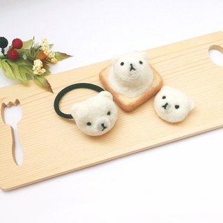 Goody Bag - Wool Felt Ice Cream Toast Pendant × Hair Ring × Pin Three Piece Set (Gifts)