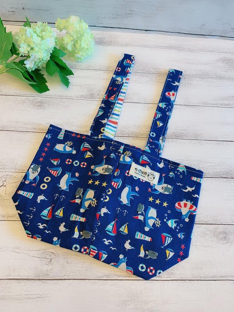海軍風企鵝二杯袋/手提袋/萬用袋