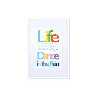 HomePlus Decorative Frame - Quote Series DanceInTheRain - White 63x43cm Homedecor