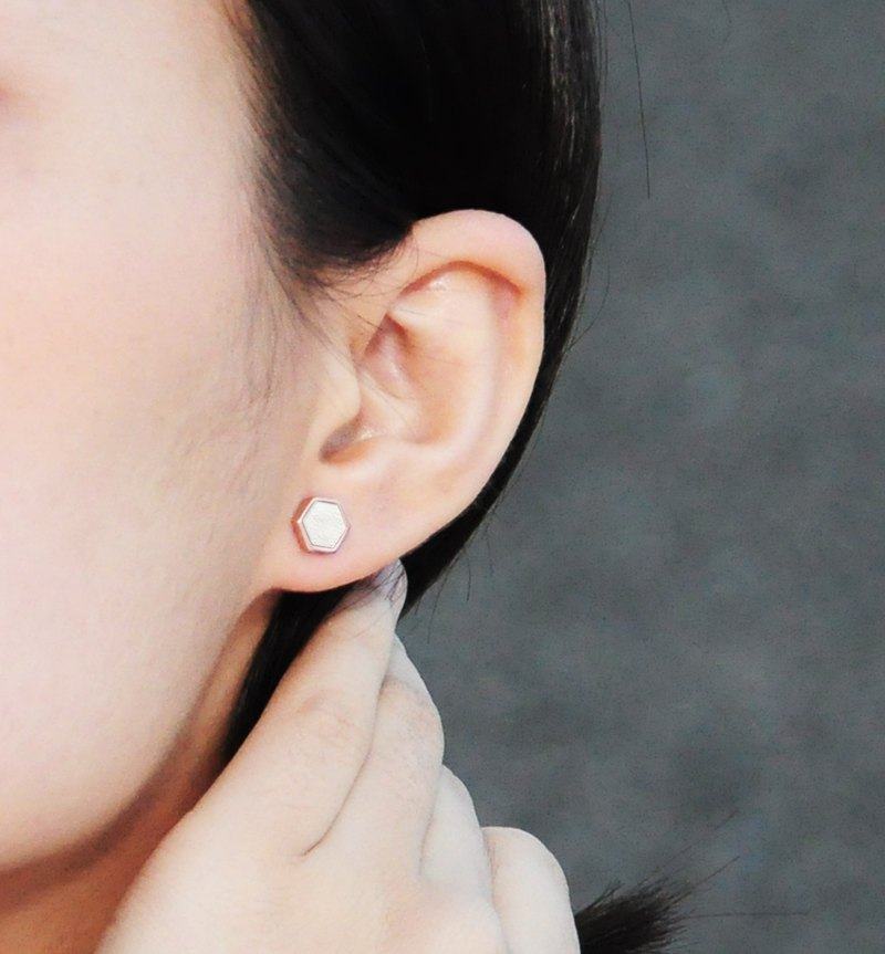White Concrete Hexagon Earring (Rose Gold) | Geometric Series