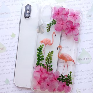 Annys workshop手作押花手機保護殼, iPhone X 適用, Flamingos