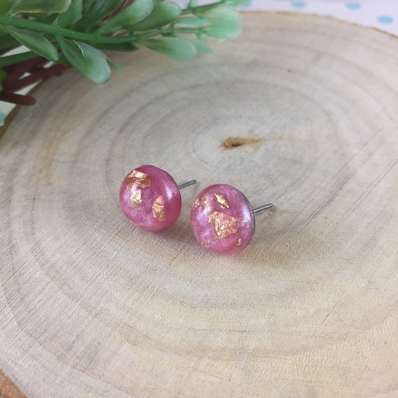 Pink gold earrings stainless steel needle