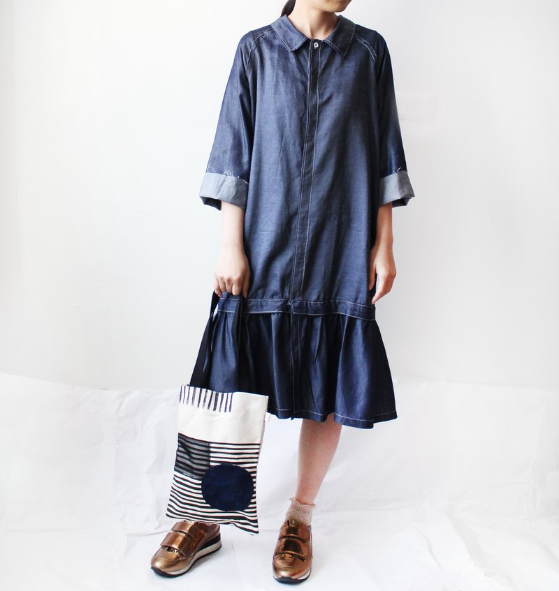 4.5 color hand-made cowboy shirt type dress A-