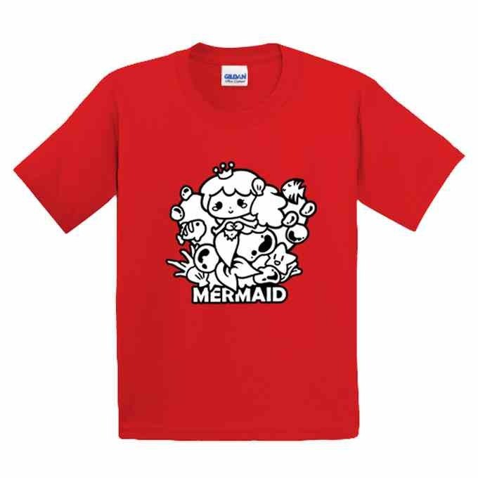 Painted T-shirt | mermaid | US cotton T-shirt | Kids | Family fitted | Gifts | painted | red