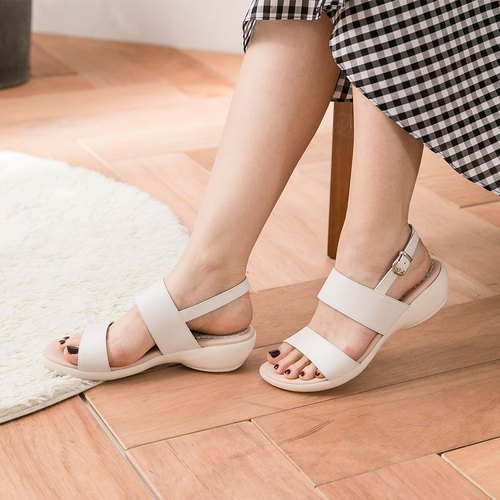 Maffeo Sandals Powdery Macon Long Banded Wedge Leather Sandals (6861 White Chocolate Macaron)
