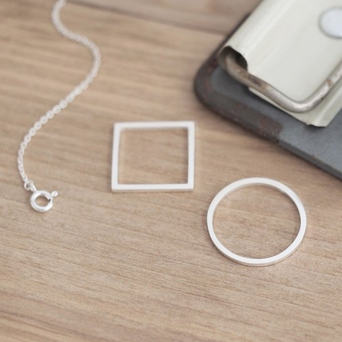 Round, square 2way long necklace Silver 925