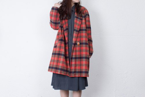 Banana cat. Banana Cats checkered orange gourd lead single buckle vintage wool coat