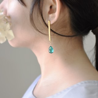 Geometrical rectangular texture apatite gold earrings (copper plated 18K gold earrings) :: C% handmade jewelry ::